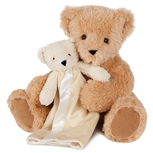 Vermont Teddy Bear   Lovey Gift Set  13 Inch Caramel Brown Bear With Baby Blanket