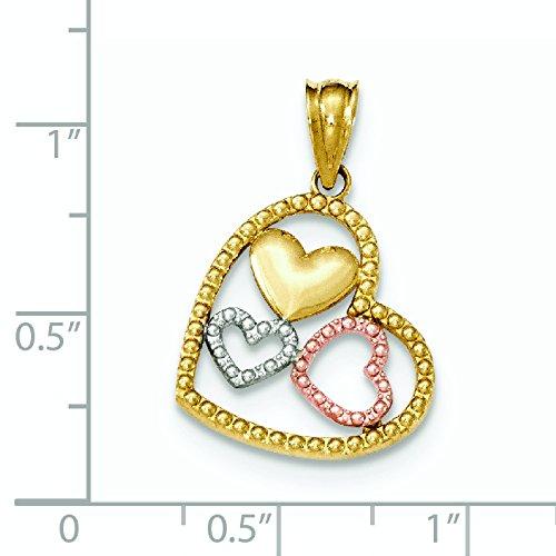 Or bicolore 14carats et rhodium Pendentif Coeur Poli et texturé