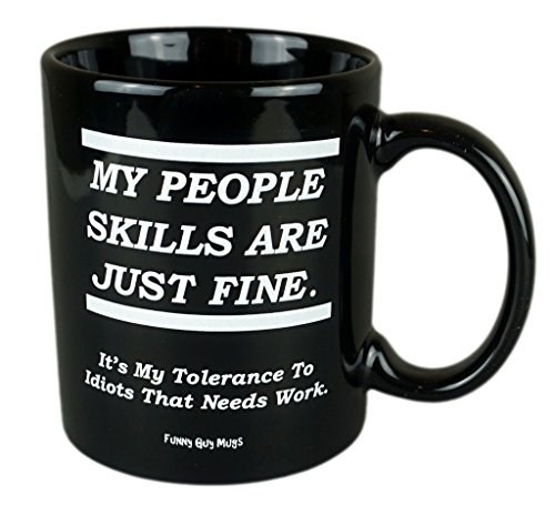 Funny Guy Mugs My People Skills Are Just Fine Coffee Mug, Black, 11-Ounce