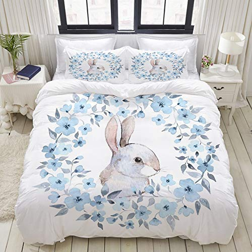 VANKINE 3PC Bedding Set Bunny Rabbit Portrait in Floral Wreath Illustration Country Style Decor 1 Duvet Cover with 2 Matching Pillowcases Apartment Bedroom Decor Full/Queen