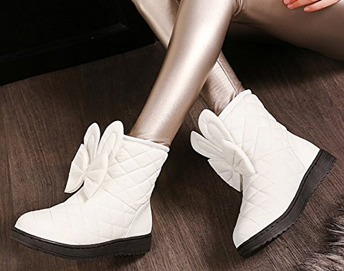 Lined Down Boots Bowknot Ankle Women's Fur White Winter Snow Flat Booties IDIFU Sweet Thick Faux xwfq7xYv