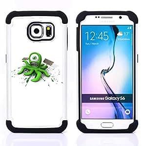 """Samsung Galaxy S6 / SM-G920 - 3 en 1 impreso colorido de Altas Prestaciones PC Funda chaqueta Negro cubierta gel silicona suave (Monstruo extranjero divertido"""")"""