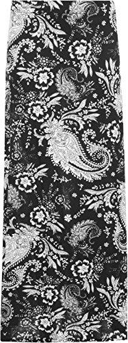 WearAll - Femmes Floral Motif Cachemire Imprimer 70s tendue Longue Dames Maxi Jupe - Jupes - Femmes - Tailles 42-56 Noir