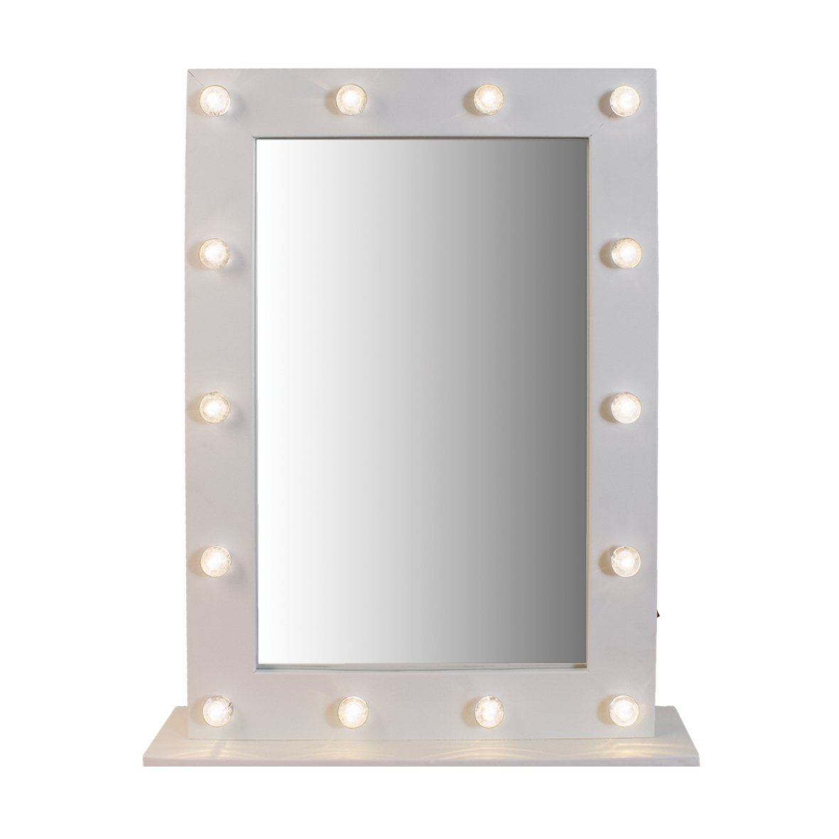 Gadgetzone® White Free Standing style Make Up Mirror Light Up Mirror Illuminated Mirror 14 LED Mirror - Handy White Compact Mirror Bathroom Shaving Mirror Cosmetic Mirror. Battery Operated Dressing Room Mirror Garden Mile®