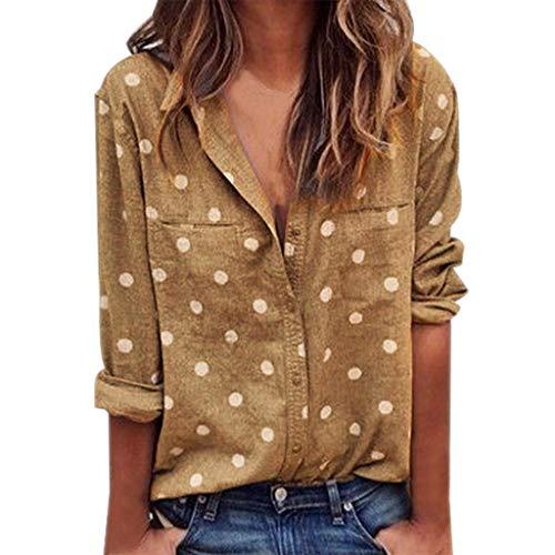 Letdown Women Long Sleeve Button Down Shirt Trun Down Collar Polka Dot Printing Casual Blouse Yellow