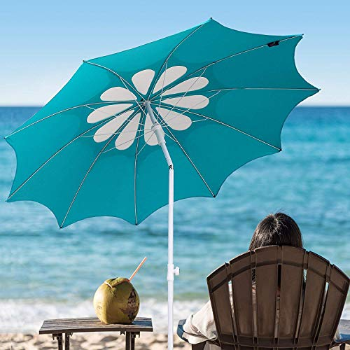 AMMSUN 10 Panels 7ft Polyester Fabric Outdoor Beach Umbrella, Adjustable Height, Hollow Pattern with Tilt UPF 50+ Teal /white