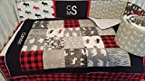 Woodland 1 to 4 Piece Lumberjack baby boy nursery crib bedding Quilt with minky dot back, bumper, bed skirt, moose, bear, logs, buffalo plaid, Gray, black, red, black, white Reviews