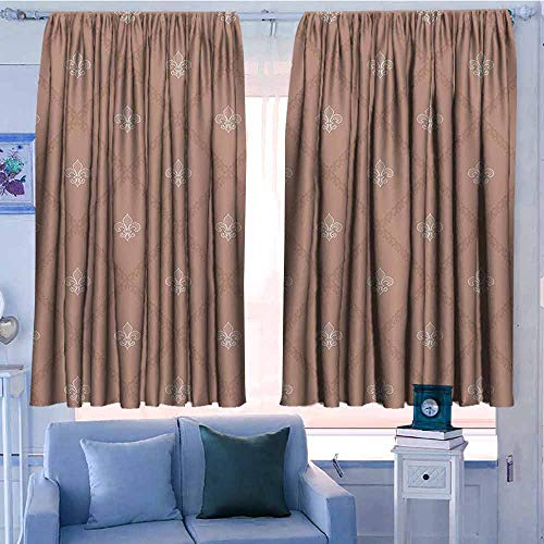 AndyTours Print Window Curtain,Fleur De Lis Decor Collection,Darkening Thermal Insulated Blackout,W63x45L Inches Tan