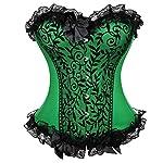 Kranchungel Women's Bustier Corset Sexy Satin Brocade Overbust Waist Cincher Shapewear Top 6