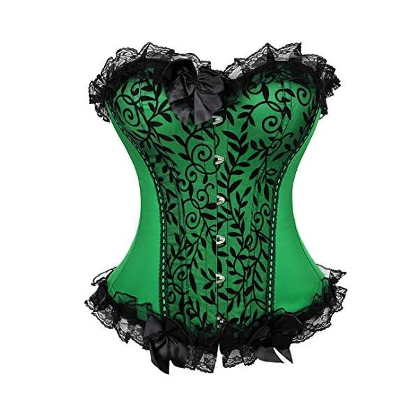 Kranchungel Women's Bustier Corset Sexy Satin Brocade Overbust Waist Cincher Shapewear Top 3
