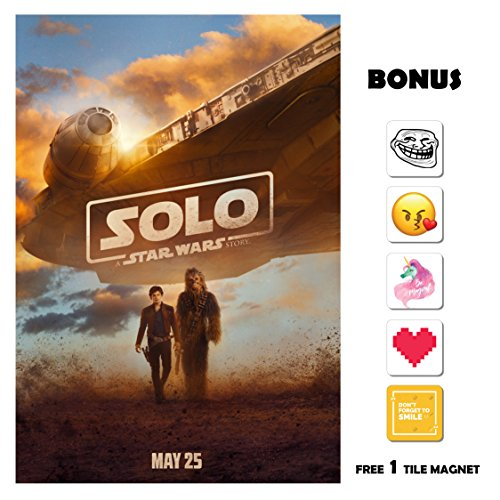 SOLO A Star Wars Story Movie Poster 13 in x 19 in Poster Flyer BORDERLESS Chewie - Bonus Free 1 Tile Magnet