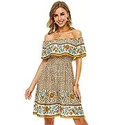 FFever Off Shoulder Dress for Women - Ruffle Floral Print Summer Dresses, Bohemian Style Short Dr...