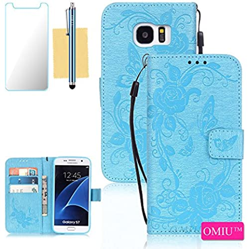 Galaxy S7 Case,S7 Case, OMIU(TM) Wallet PU Leather Embossed Butterfly Case with Credit ID Card Slots for Samsung Galaxy S7-Blue Sales