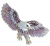 "Sindary Art Style 3.15"" Purple Rhinestone Crystal Bird Animal Eagle Brooch Pin BZ4717"