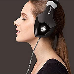 SADES A60/OMG Gaming Headset Over Ear 7.1 Stereo Surround Sound Heaphones With Microphone Noise Isolating Volume Control LED Light For PC & MAC (Black and White)