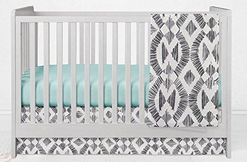 3 Piece Crib Bedding Set in Mud Cloth Black and Mint by Twig + Bird - Handmade in America