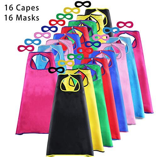 (Superhero-Capes for Kids Bulk with Masks - Boys Girls Super-Hero Dress Up Party, 16 Pack)