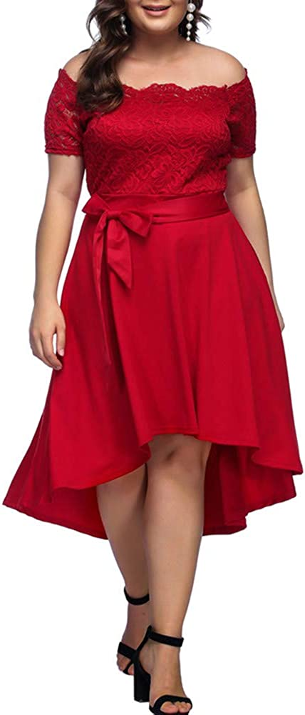 TALLA ES(46-48)XL. Lover-Beauty Mujer Vestido Corto Elegante Sexy Cuello V Raya Talla Grande Top Puro con Manga Dama de Honor para Boda Noche Fiesta y Boda Navidad S-4XL Rojo 2 ES(46-48)XL