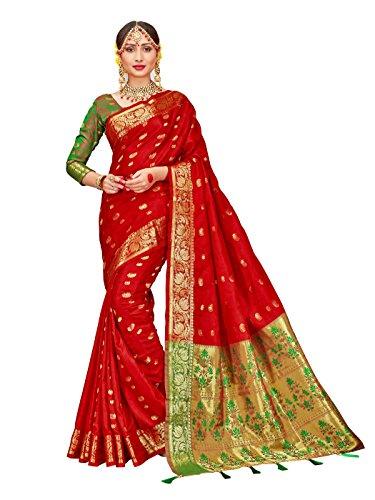 ELINA FASHION Sarees for Women Patola Art Silk Woven Work Saree l Indian Bollywood Wedding Ethnic Sari with Blouse Piece (Maroon)