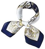 corciova Women 100% Mulberry Silk Neck Scarf Small Square Scarves Neckerchiefs Oxford Blue White Carriage Design