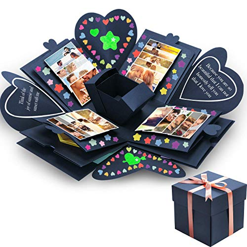 - Creative Explosion Gift Box, DIY Handmade Photo Album Scrapbooking Gift Box for Birthday Party and Surprise Box About Love Opend with 14''x14''(Black)