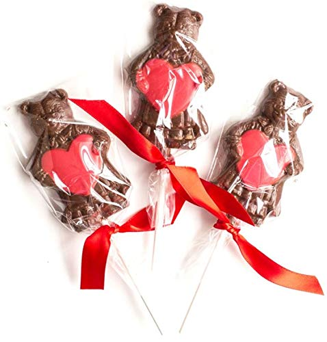 Mothers Day Chocolate Bear Lollipops, Adorable Gift, Individually Wrapped with Ribbon, Hand-Crafted in Small Batches, Made in USA, 3 Pack ()
