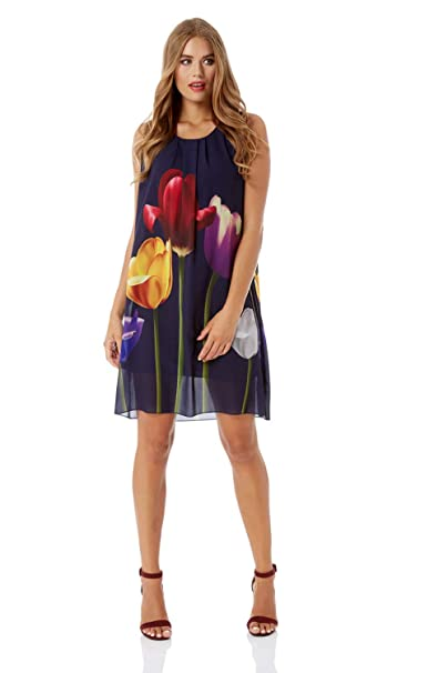ac82dc072668 Roman Originals Women Tulip Print Swing Dress - Ladies A-Line Loose Chiffon  Party Occasion Sleeveless Going Out Dresses  Amazon.co.uk  Clothing