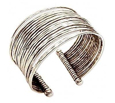 Hammered Bunch Silver Cuff Fashion Bracelet - Brass w/ Silver Plate - 100% Non-allergenic