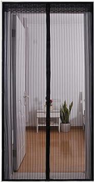 QDR Mosquitera Puerta Blanca,Cortina Mosquitera MagnéTica para Puertas 80,para Puertas Correderas/Balcones/Terraza Nuevo DiseñO, Manos Libres,Black,90x200cm(35x79inch): Amazon.es: Hogar