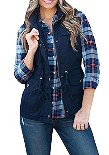 U-WARDROB Sleeveless Military Lightweight Warm Vest Jacket With Pocket For Women