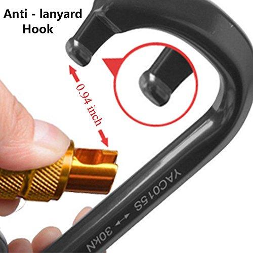 3 Pack Ayamaya 30kn / 3000kg Aluminum Locking Rock Climbing Carabiner D Shape Screwgate Carabiner Hook Twist Lock Carabiner Outdoor Sport Tools