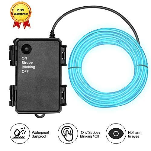 Waterproof El Wire 5m Ice Blue Neon El