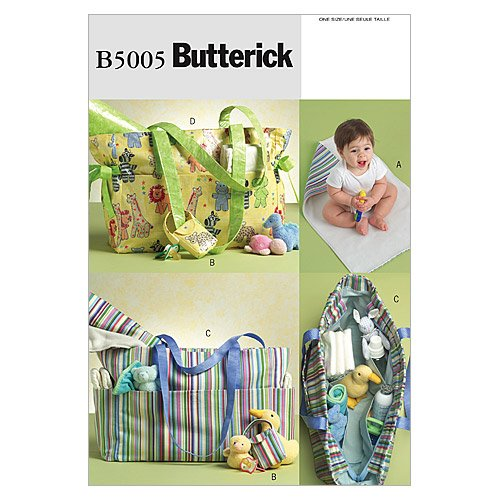 BUTTERICK PATTERNS B5005 Diaper Bag, Changing Pad and Pacifier Case, One Size ()