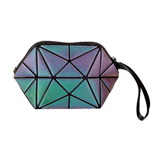 Beautier Holographic Reflective Luminous Handbag Lattice Design Geometric Bag Unique Purses Soft PU Leather Wristlet Clutch Cell Phone Purse
