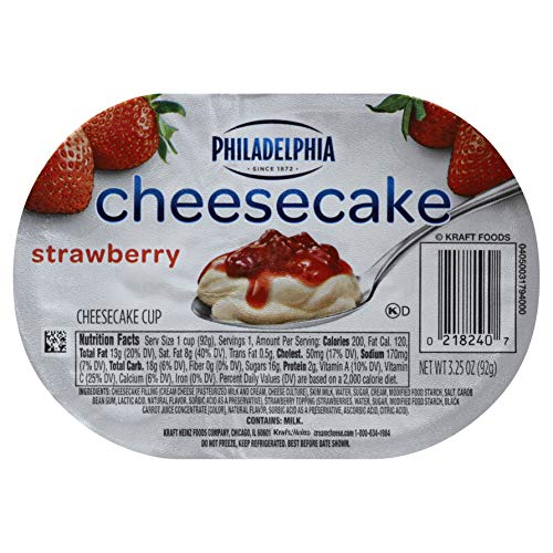 Strawberry Cheesecake Dessert - Philadelphia Ready To Eat Strawberry Cheesecake Cups 3.25 ounce (Pack of 12)