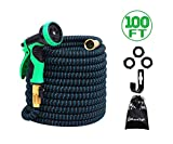 2018 Model Expandable Hose (100ft) –Flexible Garden Hose with 3/4 Solid Brass Fittings, Double Latex Core Extra Strength Fabric –Outdoor Water Hose with 9 Function Hose Nozzle – Expanding Garden Hose