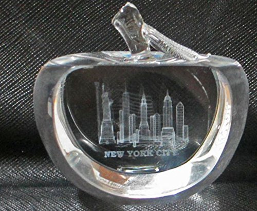 Apple Shaped 3D Laser Etched New York City with American Flag Glass Crystal Paperweight, NYC Souvenirs
