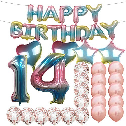 Sweet 14th Birthday Decorations Party Supplies,Rainbow Number 14 Balloons,14th Foil Mylar Balloons Rose Gold Latex Balloon Decoration,Great 14th Birthday Gifts for Girls,Women,Men,Photo Props]()
