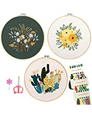 Minone 3 Sets Beginners Embroidery Kit with Pattern and Instructions for Adults and Kids,Cross Stitch Starter Kit, 3 Embroidery Clothes with Pattern, 1 Bamboo Embroidery Hoops,1 Scissor