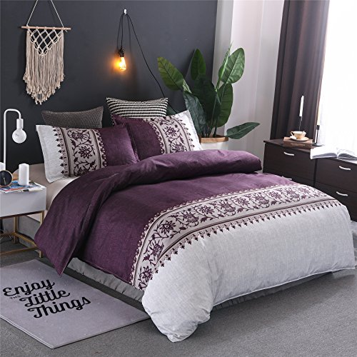 Meeting Story Hotel Luxury Soft Microfiber Convallaria Printed Pattern Reversible Duvet Cover Set (Purple, Full) - Reversible Printed