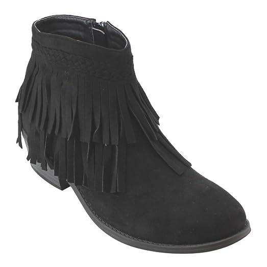 AD41 Women's Fringe Side Zipper Block Heel Ankle Booties