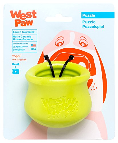 West Paw Zogoflex Toppl Interactive Treat Dispensing Dog Puzzle Play Toy, 100% Guaranteed Tough, It Floats!, Made in USA, Small, Granny Smith