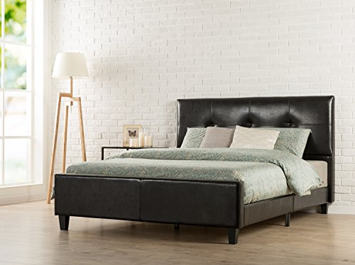 zinus tufted faux leather upholstered platform bed with footboard and wooden slats king espresso