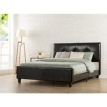 Amazoncom Zinus Deluxe Faux Leather Upholstered Platform Bed