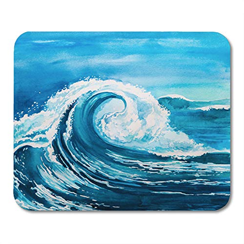 Semtomn Gaming Mouse Pad Blue Ocean Watercolor Wave Storm Color Sea Abstract Nature Water Artistic 9.5