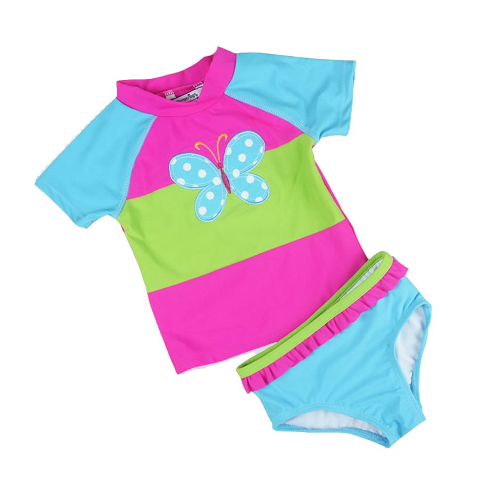 Baby Toddler Girls 2 piece Rose Rash Guard Flower Lovely Bathing Suit Batedan