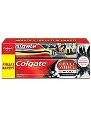 Colgate Optik Beyaz Aktif Kömür Beyazlatıcı Diş Macunu 75 ml + Zigzag Charcoal Diş Fırçası Orta