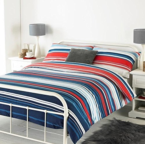 HORIZONTAL GRADED STRIPE BLUE BRUSHED COTTON USA TWIN (COMFORTER COVER 135 X 200 - UK SINGLE) (PLAIN SILVER GREY FITTED SHEET - 91 X 191CM + 25 - UK SINGLE) ()