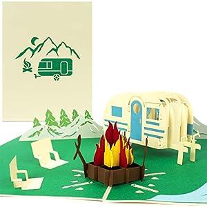 PaperCrush® Pop-Up Karte Camping mit Wohnwagen - 3D Geburtstagskarte für Camper, Lustiges Camping-Geschenk für Frauen…