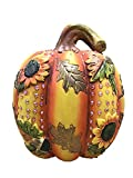 Terracotta Pumpkin Figurine With Sunflowers, Leaves and Rhinestones 7.25 Inches